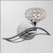 Leimo Right Facing Wall Light in Polished Chrome and Crystal, Switched - DIYAS IL30951/R